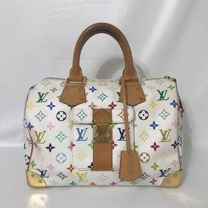 Authentic Louis Vuitton Multicolore Speedy White